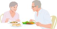 食事を楽しむアクティブシニアカップル