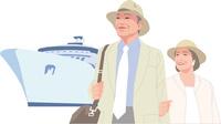 船旅を楽しむアクティブシニアカップル 11002069196| 写真素材・ストックフォト・画像・イラスト素材|アマナイメージズ