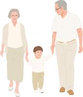 孫と散歩するアクティブシニアカップル 11002069209  写真素材・ストックフォト・画像・イラスト素材 アマナイメージズ