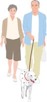 犬の散歩をするアクティブシニアカップル 11002069210  写真素材・ストックフォト・画像・イラスト素材 アマナイメージズ