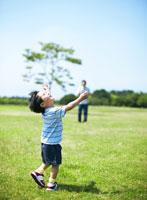 公園で遊ぶ父と子