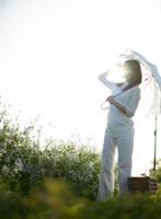 日傘を差す日本人女性