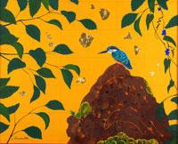 岩の上にとまった鳥 イラスト