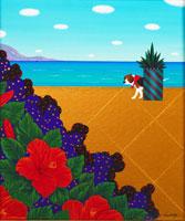 花と海と犬 イラスト