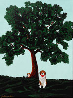 木の下の犬 イラスト