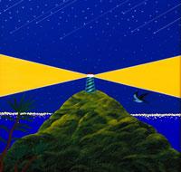 夜の島の風景 イラスト