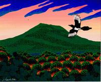 山火事と鳥 イラスト