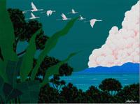 山の噴火と鳥 イラスト