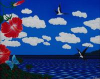 海と鳥と花 イラスト