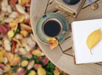 コーヒーと落ち葉 11004024881| 写真素材・ストックフォト・画像・イラスト素材|アマナイメージズ
