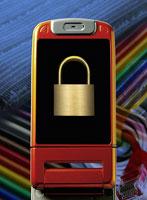 画面に南京錠の画像を表示した携帯電話