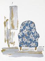 花柄のソファーのイラスト