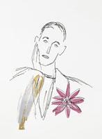 花と男性のイラスト