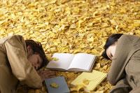 落ち葉の上でまどろむ男女 11004029926| 写真素材・ストックフォト・画像・イラスト素材|アマナイメージズ