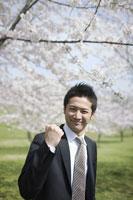桜の木の前でガッツポーズをする新入社員