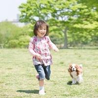 走る女の子と犬