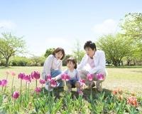 花を見る家族