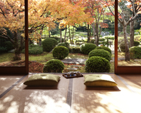 縁側からみた紅葉の日本庭園