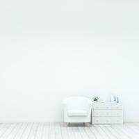 白い壁とソファと棚