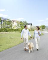犬を連れて散歩をする中高年夫婦