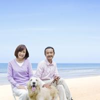 海辺でベンチに座る中高年夫婦と犬