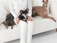 ソファに座る犬と女性