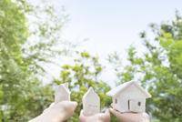 家の模型をのせた手 11004121043| 写真素材・ストックフォト・画像・イラスト素材|アマナイメージズ