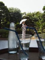 日傘をさす浴衣姿の女性