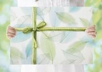 リボンがかかった葉の模様のパネルを持つ女性