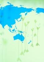 世界地図と発芽のイメージ