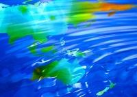 虹色の世界地図と水面