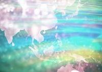 世界地図と水面