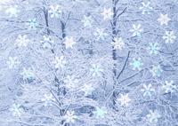 樹木と雪の結晶(CG)