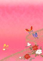 光悦垣に蝶々