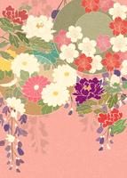 桜に菊絵皿