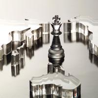 チェスの駒と世界地図