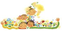 四人の子供と玩具 イラスト