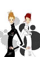 Two women standing