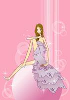 woman in formal dress on a big ball 11010004859  写真素材・ストックフォト・画像・イラスト素材 アマナイメージズ