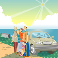 family standing by beach with a car