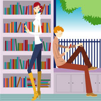 man and woman by bookshelf relaxing
