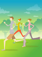 Young man and women jogging on grass