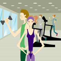 Young men and women exercising in gym