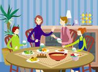 parents having dinner with children 11010006920| 写真素材・ストックフォト・画像・イラスト素材|アマナイメージズ