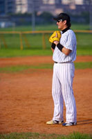 Man standing in baseball diamond