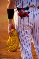 Baseball player holding baseball glove