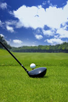 Golf club and golf ball, ground view