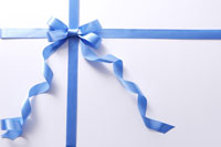 Wrapped present with blue ribbon
