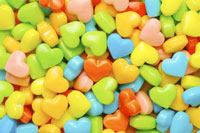 Colorful heart-shaped candies