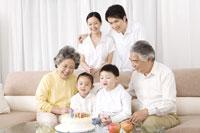 Family having birthday celebration